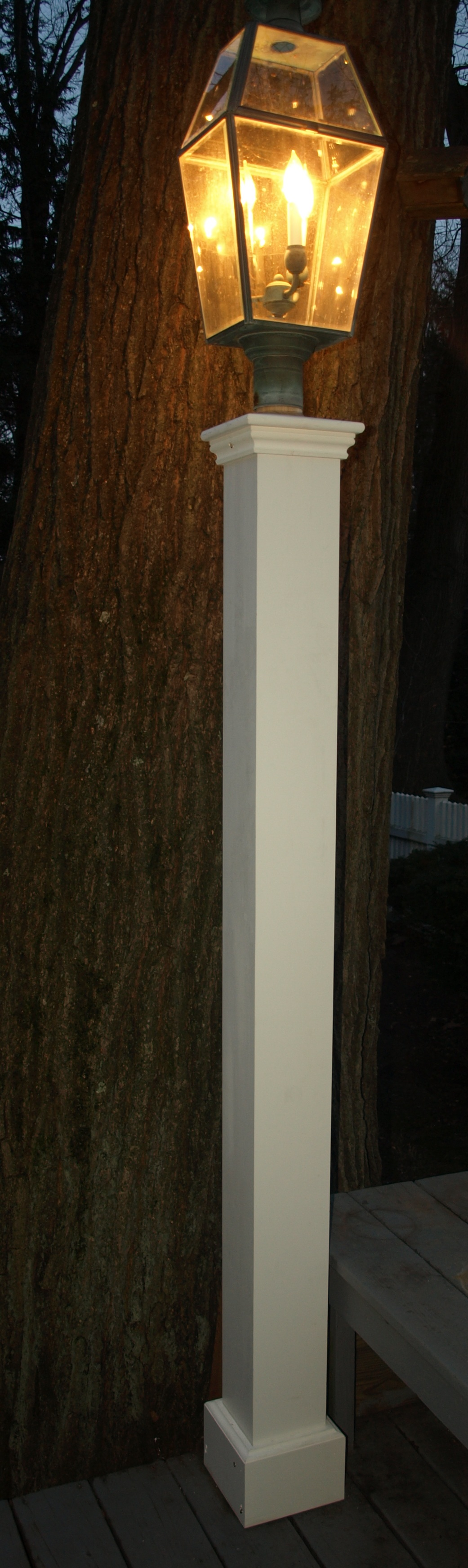Wood outdoor lamp post - And Now Two New Classsic Azek Cellular Pvc Synthetic Wood Lantern Posts In Our Largest Size 7 1 2 X 7 1 2 X 76 Tall Both New Never Rot Azek Lamp
