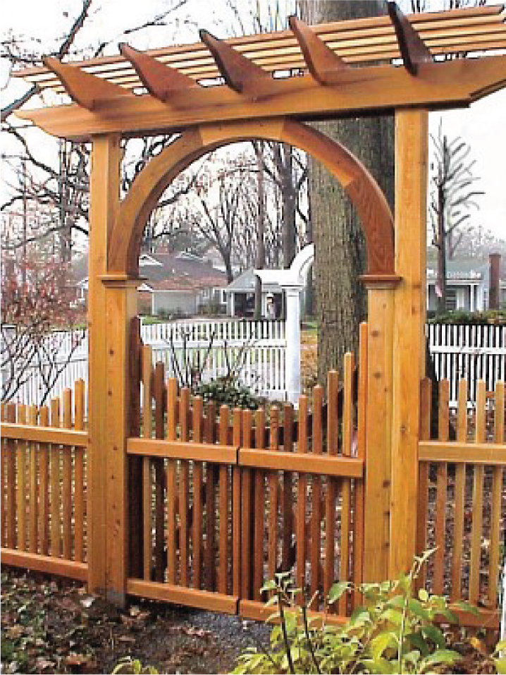 Wooden garden arbors custom made out of western red cedar for Fence with arbor