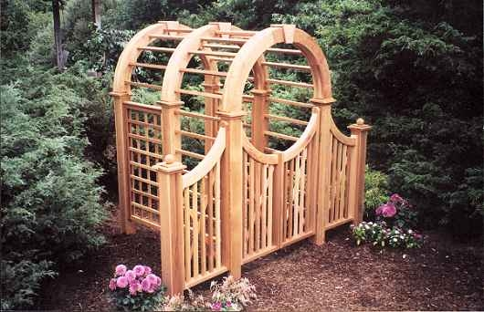 Wooden Arbors and Arbor Gates custom made out of Western Red Cedar