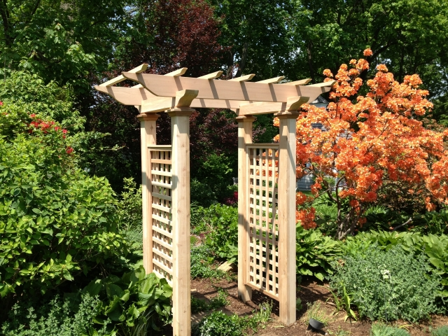 Wooden Cedar Garden Arbor by New England Woodworks
