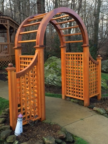 5 x 5 x 60 classic symmetrical natural cedar wooden arbor with square lattice sides and optional wings with posts and ball top post caps