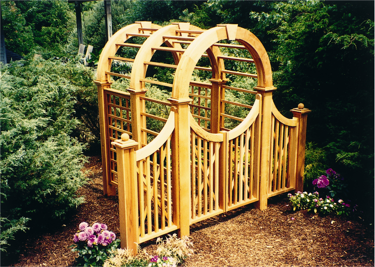 6X6 Garden Arbor With Gate And Wings