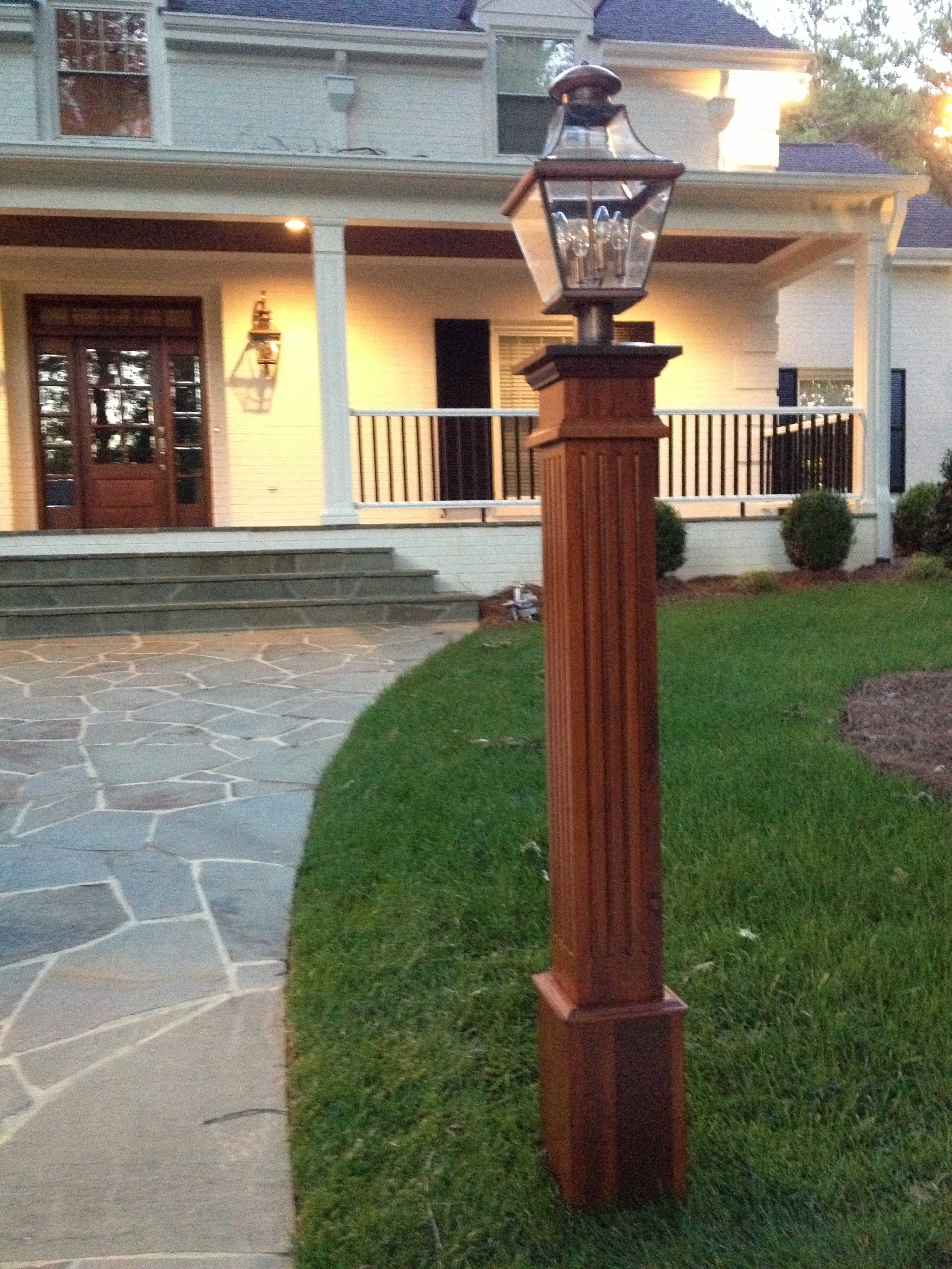 Cedar Fluted Lantern Post by New England Woodworks