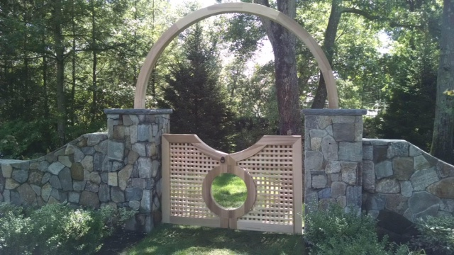 Custom Lattice Walkway Gate with 10' cedar halo
