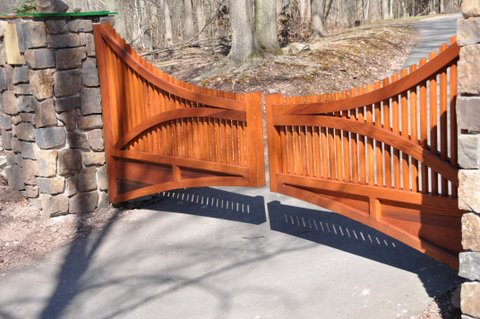 Custom Designed Wood Driveway Gate Stained by Customer