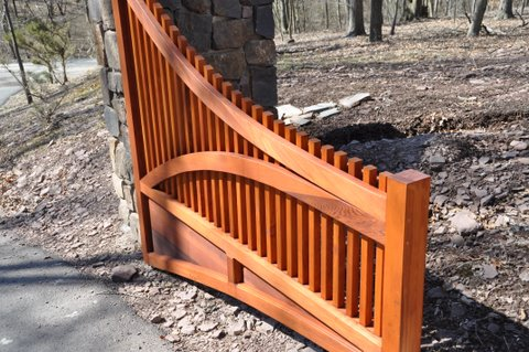 Custom Designed Wood Driveway Gate Open