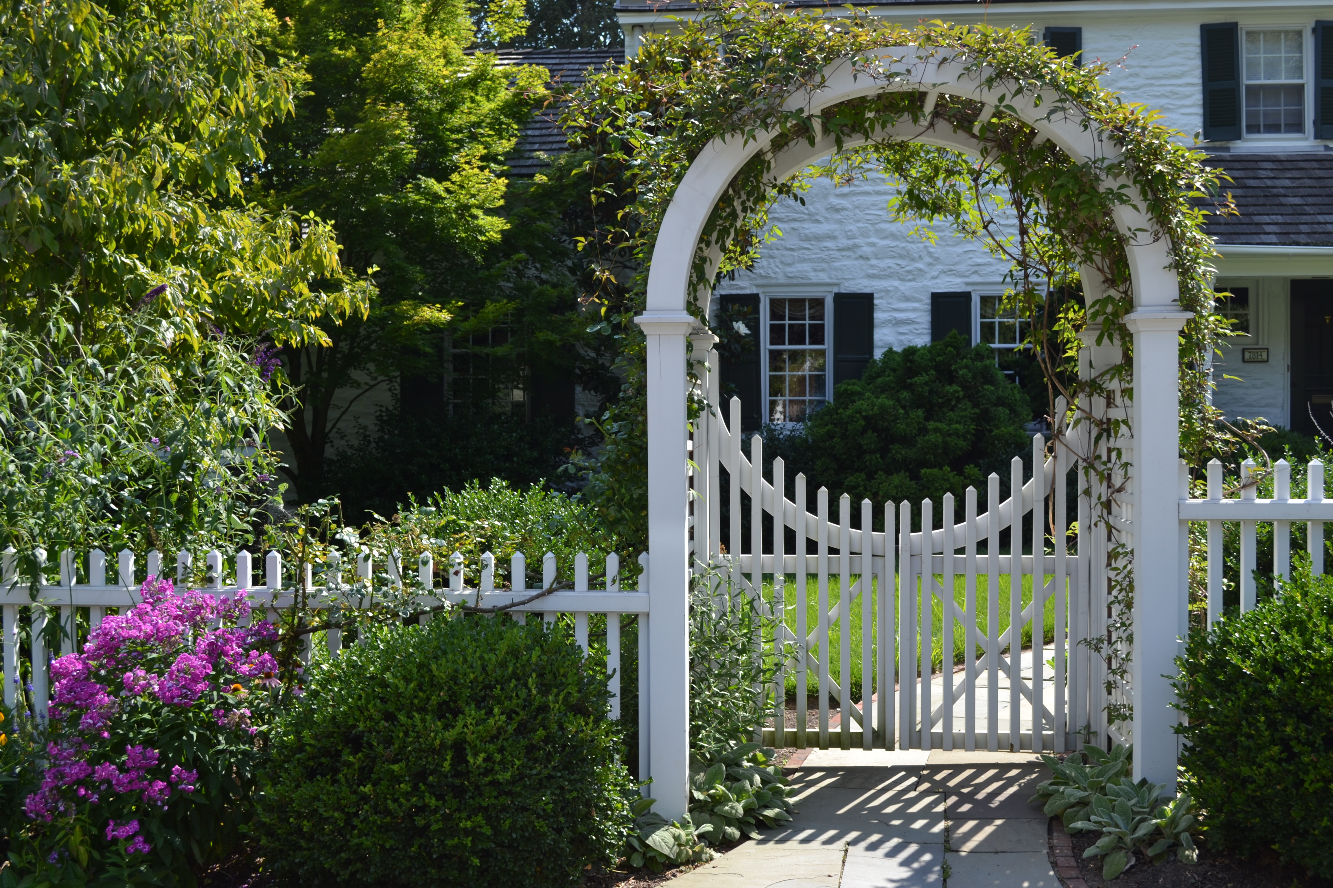 Perfect Entrance Arbor With Picket Gate And Fence