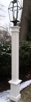 "All Azek 6x6x72"" Fluted Lantern Post Sleeve with 18"" plain base"