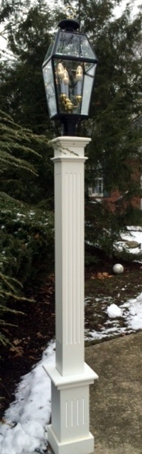 "All Azek 6x6x72"" Fluted Lantern Post Sleeve with 18"" fluted base"