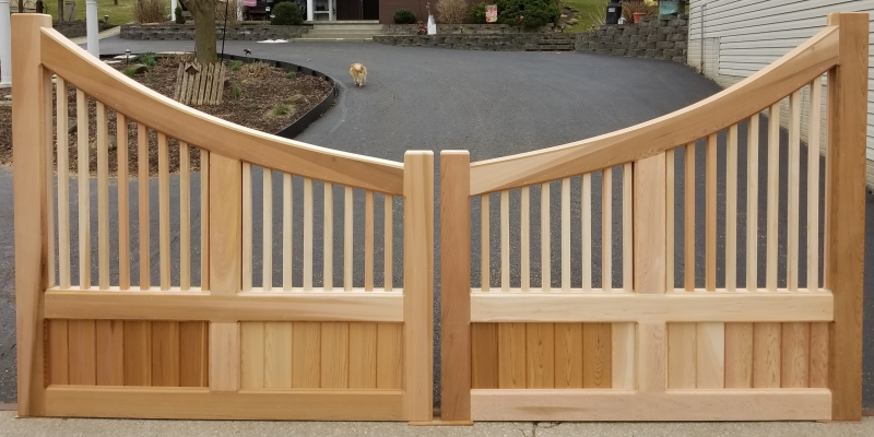 Custom Concave Driveway Gate with Azek Trim (A)