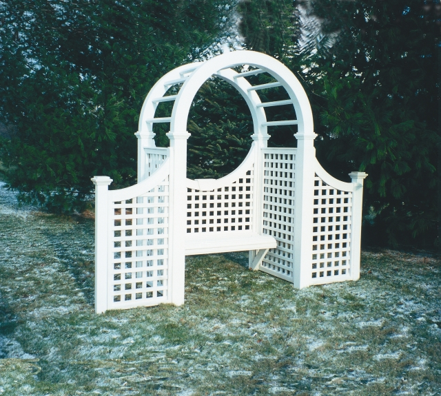 Symmetrical Design Cedar Arbor with optional bench and wings