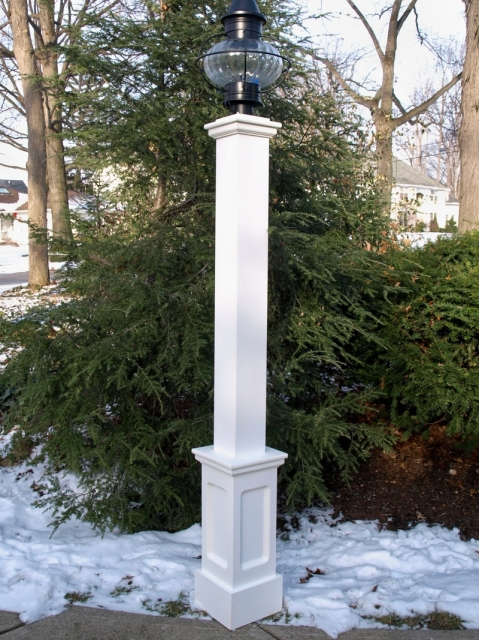 "All Azek 72"" Lantern Post Sleeve with Genuine Recessed Panel Base"