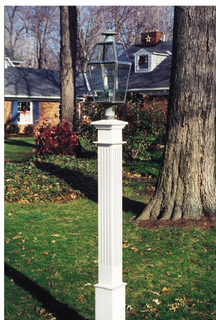 Wooden lantern posts custom made out of western red cedar new fluted 6x6x72 lantern post sleeve aloadofball Image collections