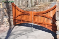 Wooden Cedar Driveway Gate designed for hilltop entrance