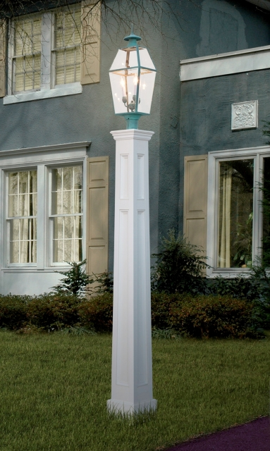 "All Azek 76"" Genuine Recessed Panel Tapered Lantern Post Sleeve"